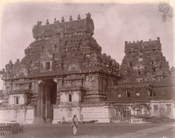 Rear view of first and second entrance gopuras of the Brihadishvara Temple, Thanjavur